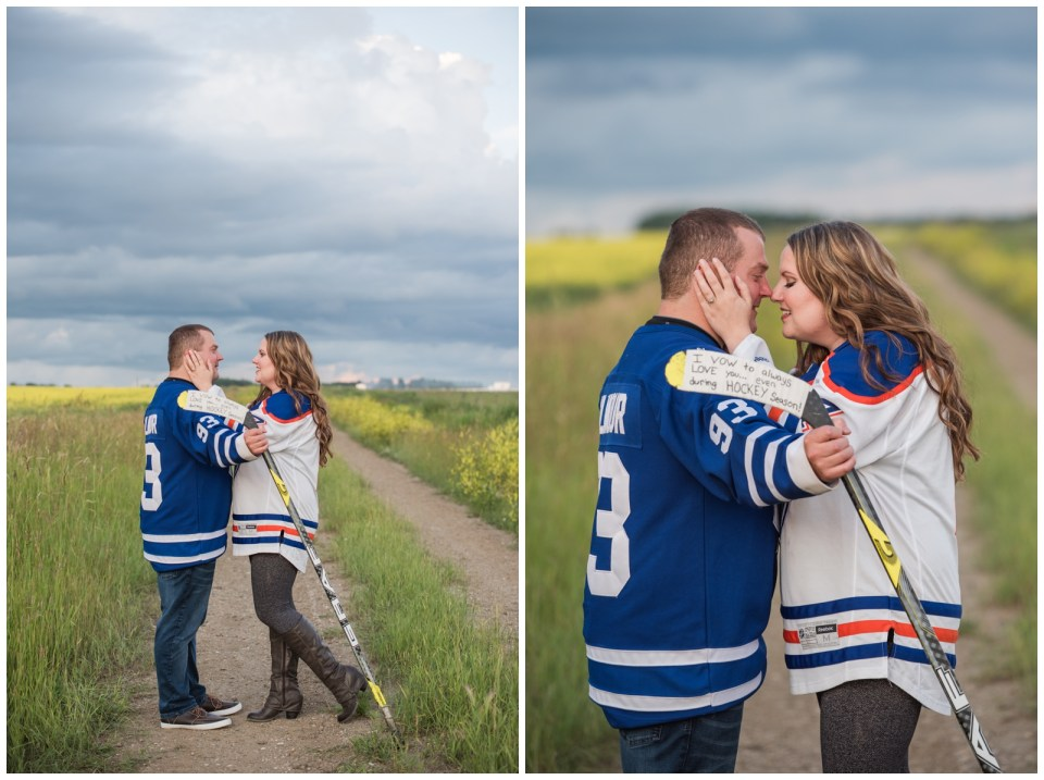 Engagement photos in a brewery with Hockey Jerseys