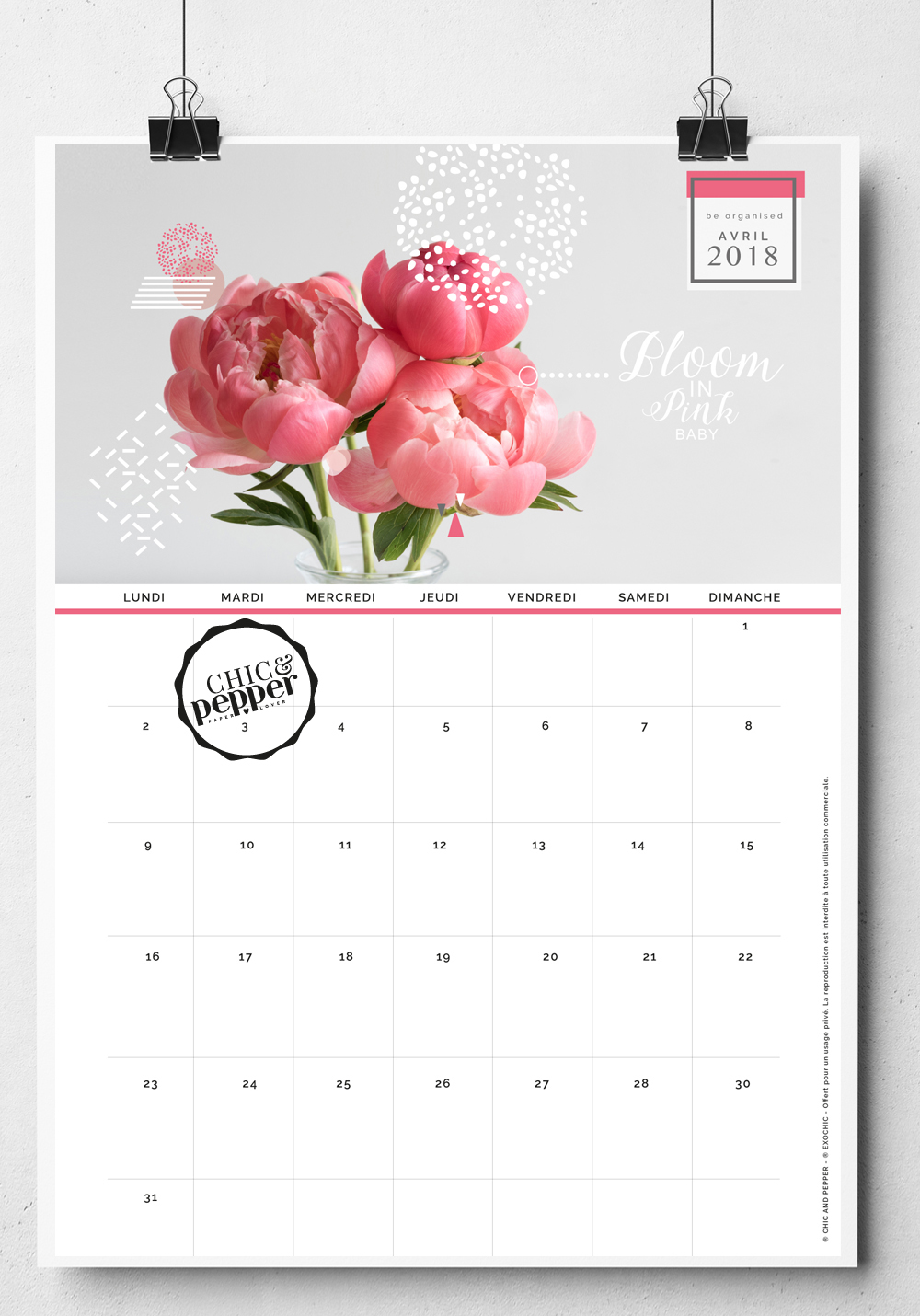 Fond D Ecran Calendrier 2020.Fond Ecran Calendrier Avril 2018 Chic And Pepper Chic And