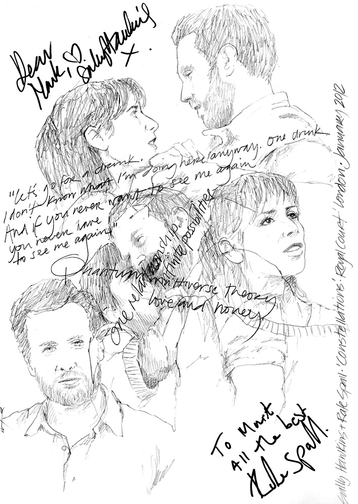 Drawing: Sally Hawkins and Rafe Spall in Constellations at