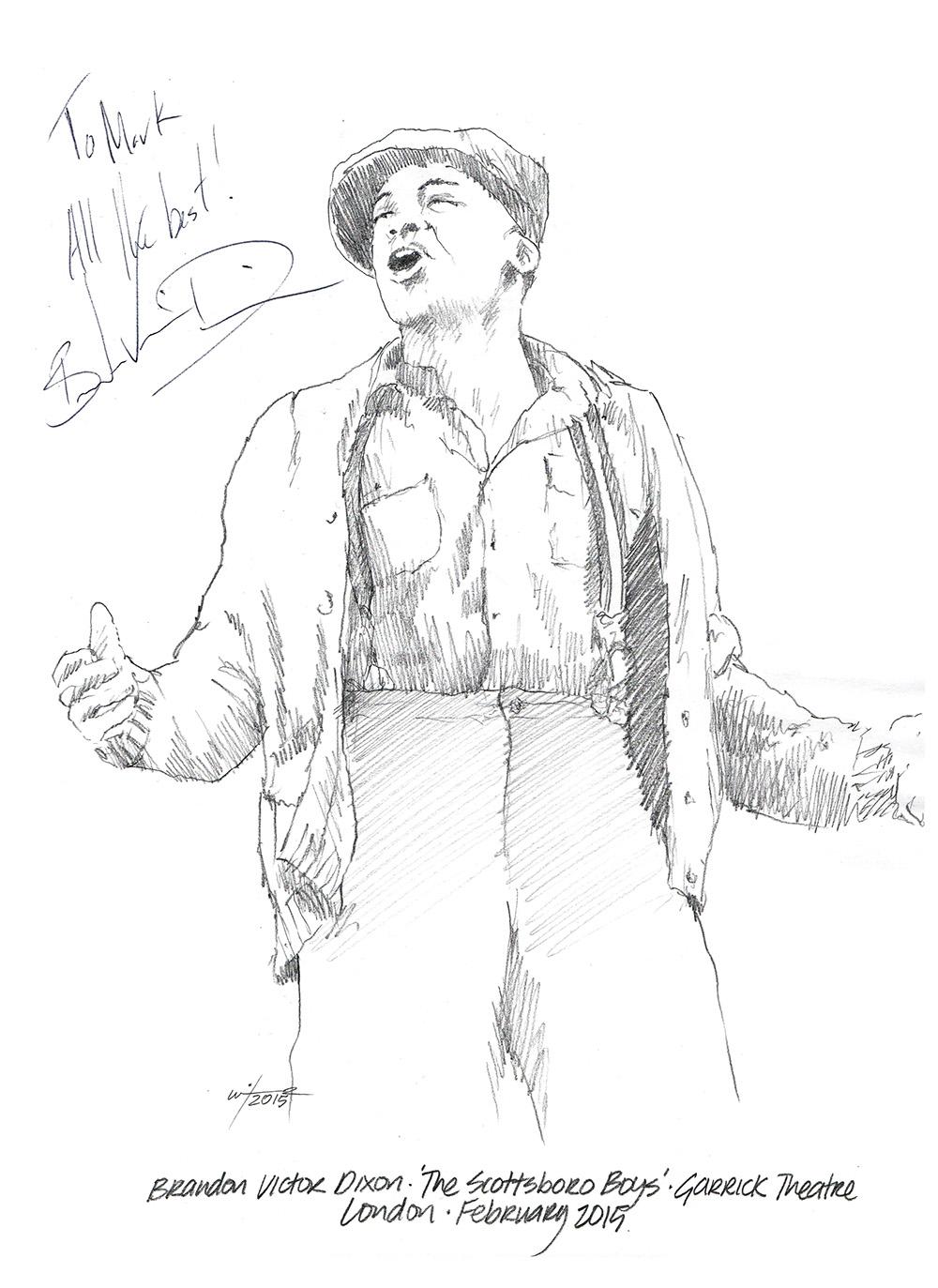 Drawing: Brandon Victor Dixon in The Scottsboro Boys
