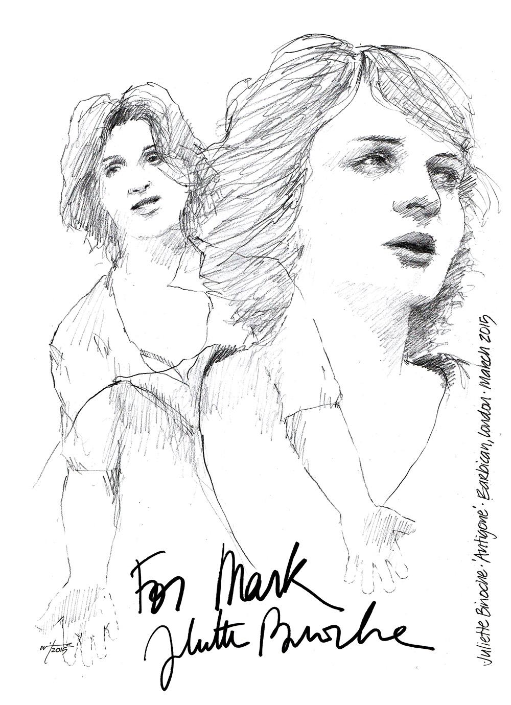 Drawing: Juliette Binoche in Antigone at The Barbican