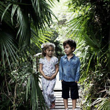Kids fashion shoot in a jungle landscape