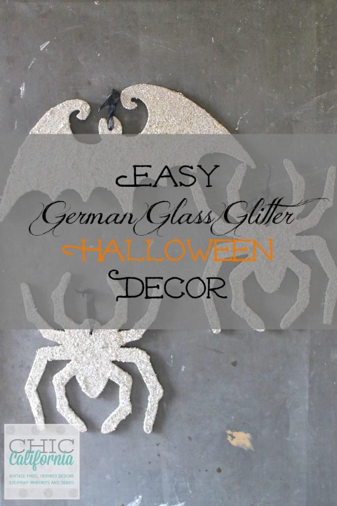 German Glass Glitter Spiders for Halloween
