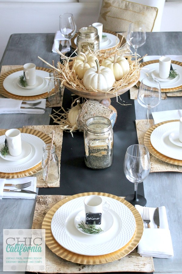 Silver Thanksgiving Table Setting