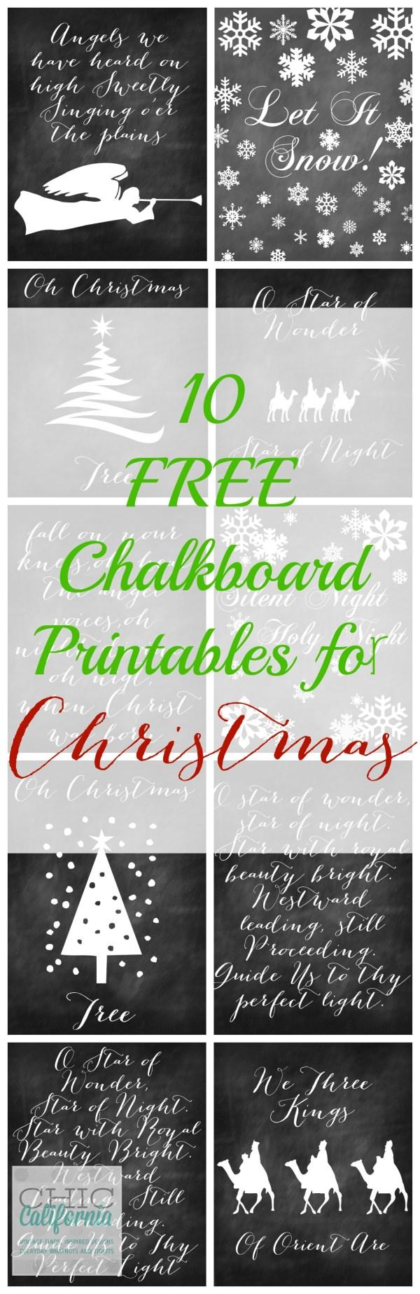 10 Free Chalkboard Printables for Chrismtas