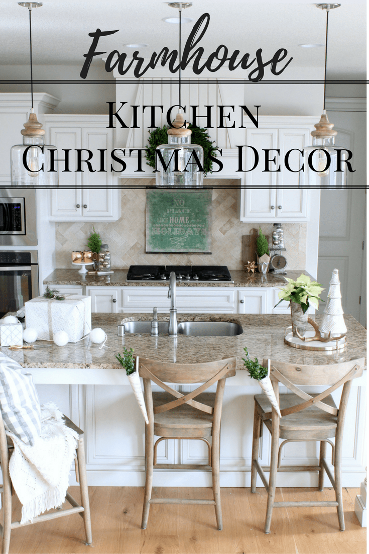 Farmhouse Style Christmas Decor in the Kitchen