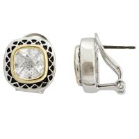 Diamond CZ Omega French Clip Pierced Earrings | Chic ...