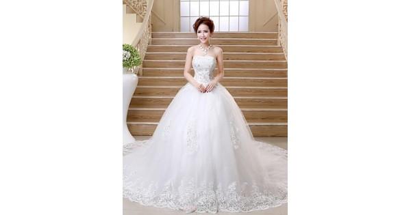 Ball Gown Chapel Train Wedding Dress -Strapless Satin
