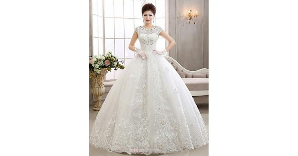 Ball Gown Ankle-length Wedding Dress -Bateau Lace,Cheap Uk