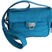 Sac cuir Ondulations bleu turquoise