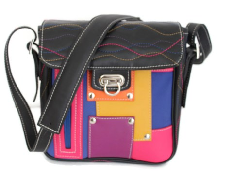 Sac bandoulière cuir Patch multicolore