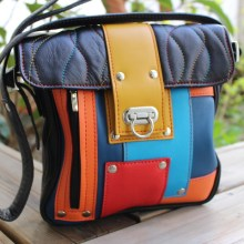 Grand sac cuir Patch multicolore