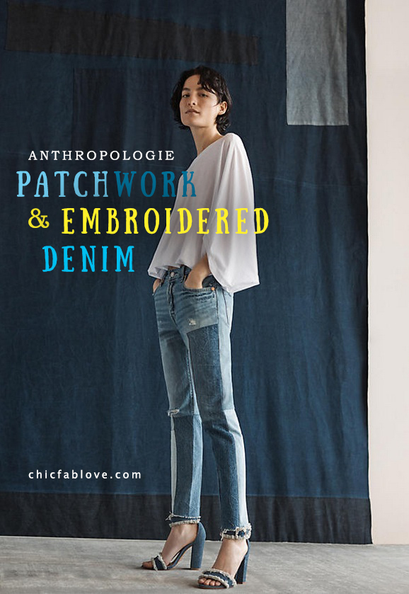 Anthroplogies Patchwork and Embroidered Denim