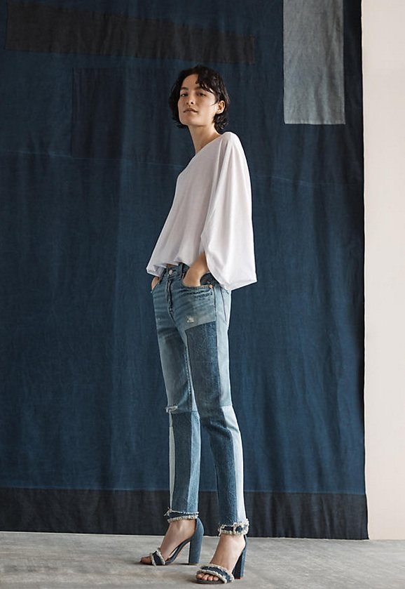 Anthropologies Patchwork and Embroidered Denim
