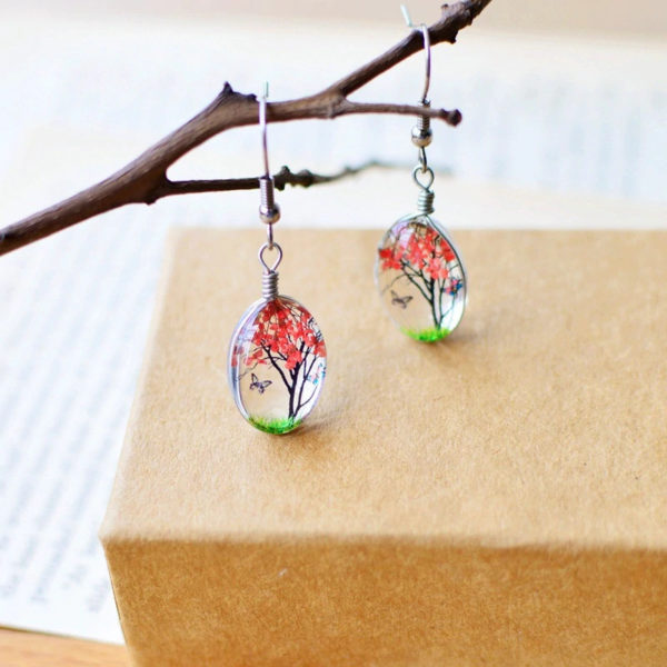 Plant-Drop-Earring-Red