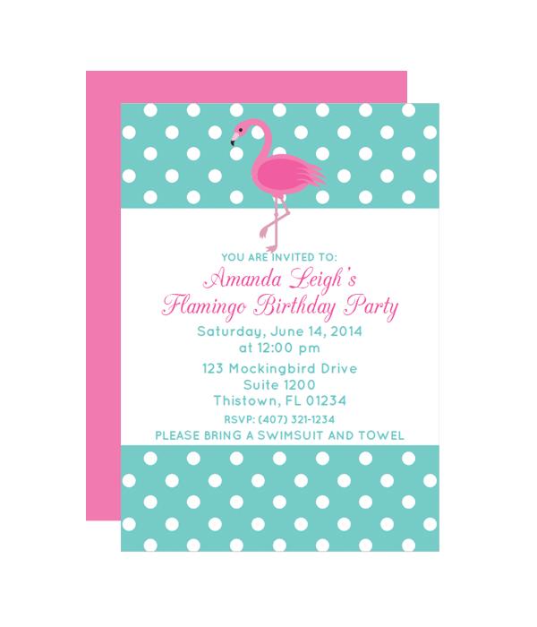 polka dot flamingo printable party