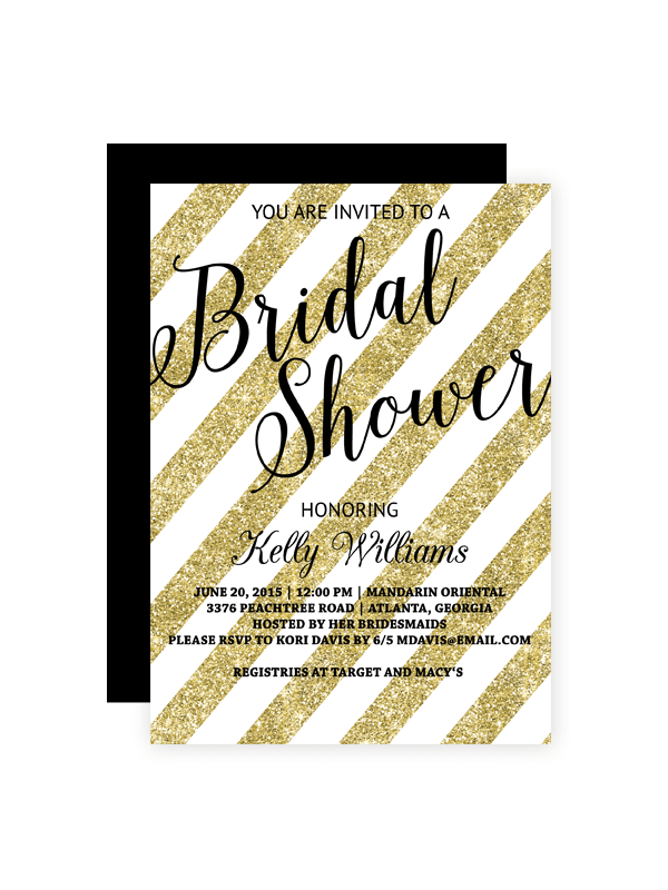 Gold Glitter Striped Bridal Shower Invitation Chicfetti