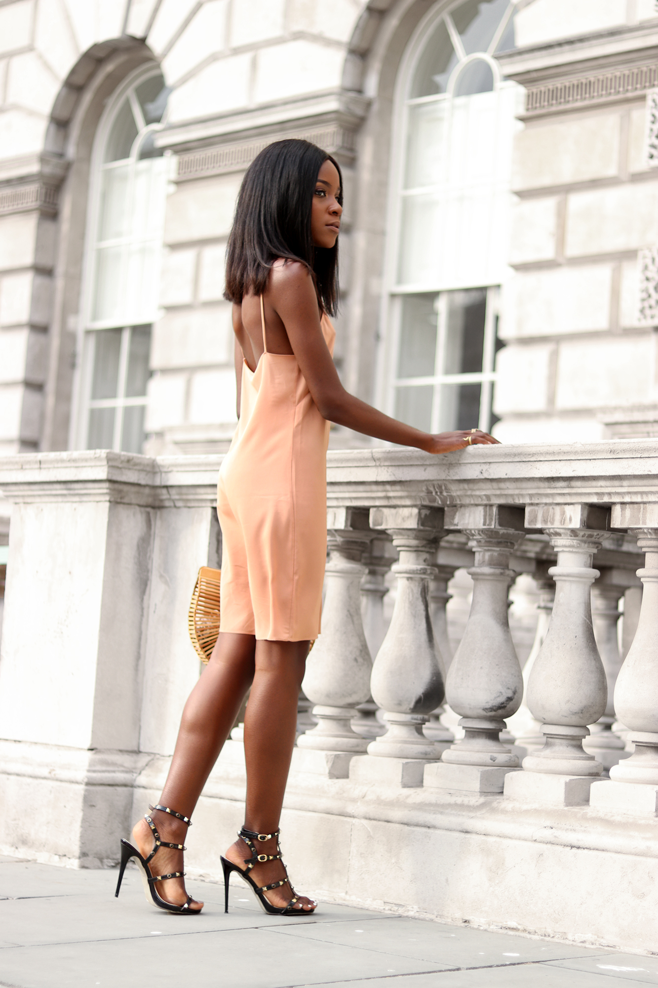 Wearing the slip dress the minima way with heels and few accessories.