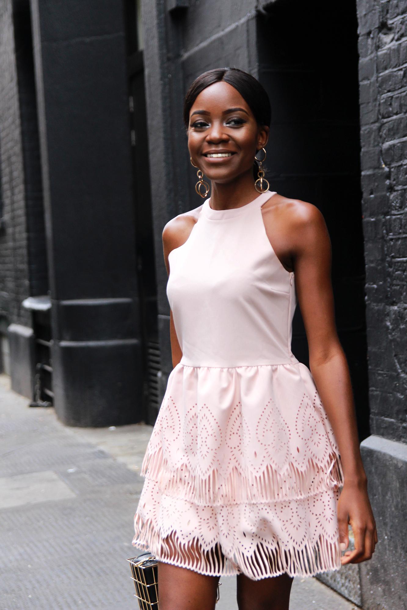 dress to impress in a pink Cut Cutuur lasercut dress