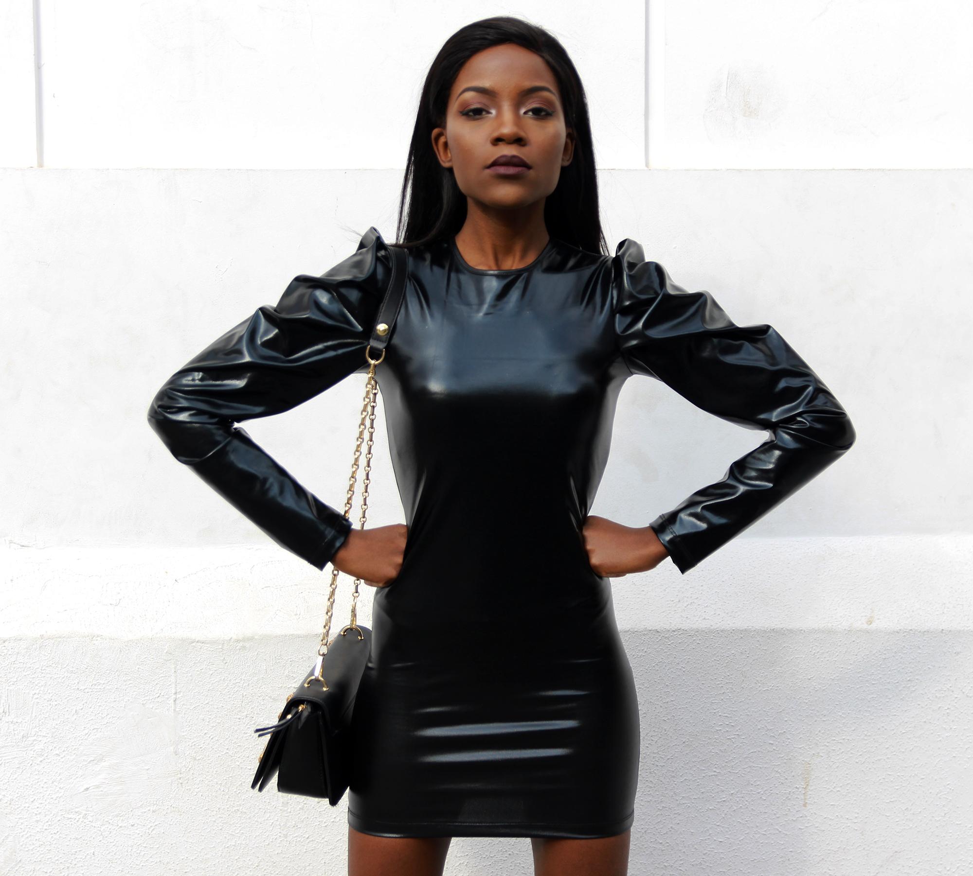 black-vinyl-dress