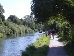 Chichester canal & towpath with canal boat Egremont in the distance