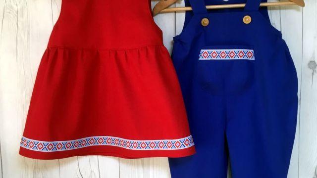 OTONE レッドジャンパースカート&ブルーオーバーオール