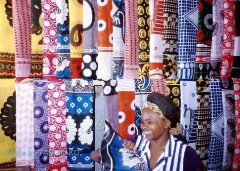 A woman selling African kanga cloth