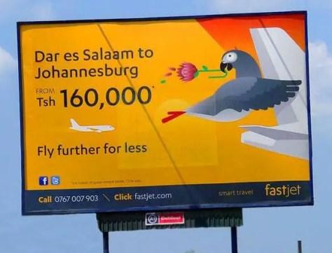 Fastjet Billboard Dar es Salaam to Johannesburg
