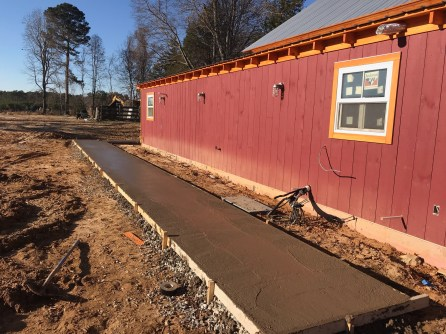 Sidewalks are going in at The Barn.