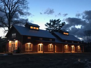 The soft glow of new lights at The Barn.