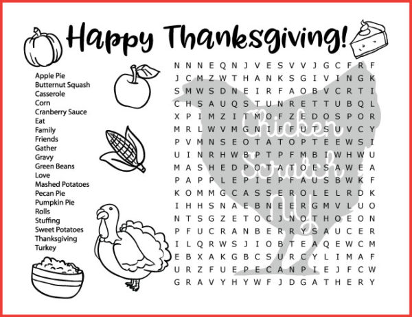 Fall & Thanksgiving Word Search
