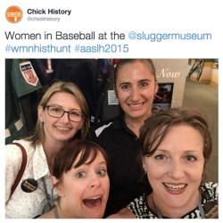 That's me, Rebecca Price of Chick History, in the bottom right corner with Page Harrington and Jennifer Krafchik of Sewall-Belmont House & Museum at the Slugger Museum with an amazing volunteer. She told us a great story of a woman pitcher from the 1950s who said she hated those skirts they had to wear, and she was still picking gravel out of her butt.