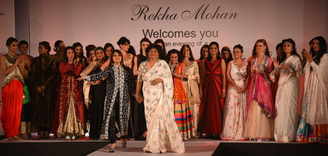 Rekha Mohan with the showstopper Dimple Ghosh and other personalities who walked the ramp