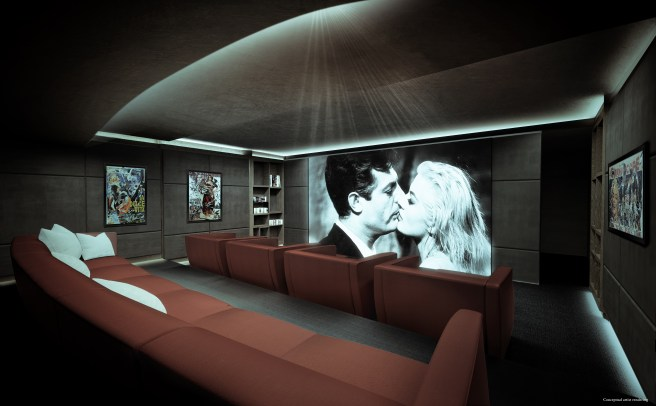 Brickell Flat Iron movie room