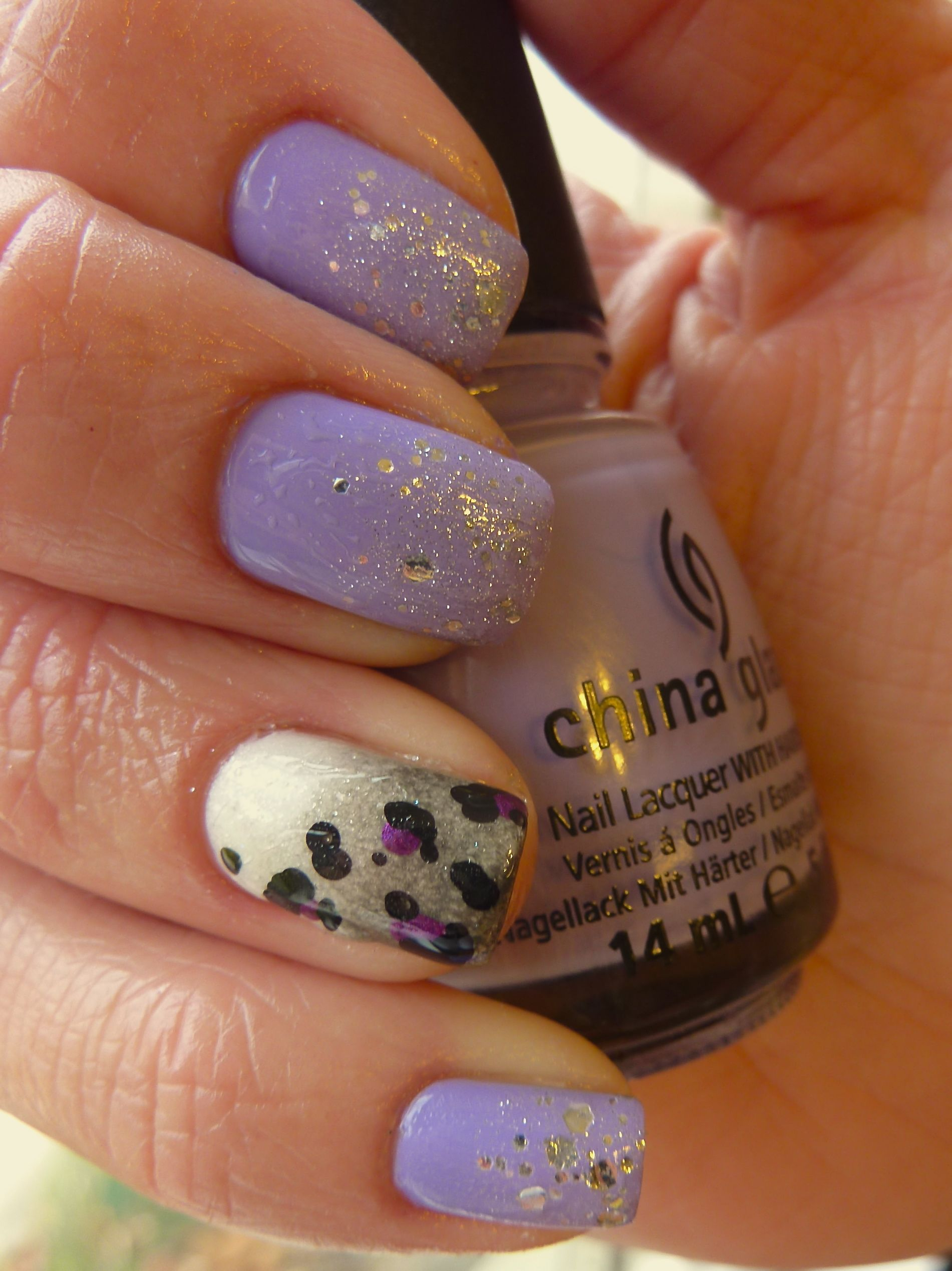 China Glaze Tart Y For The Party Grey Ombre Leopard Print Nail Art