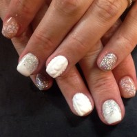 Sculpted Arylic Nails With Winter Nail Art - Chic Nail Styles