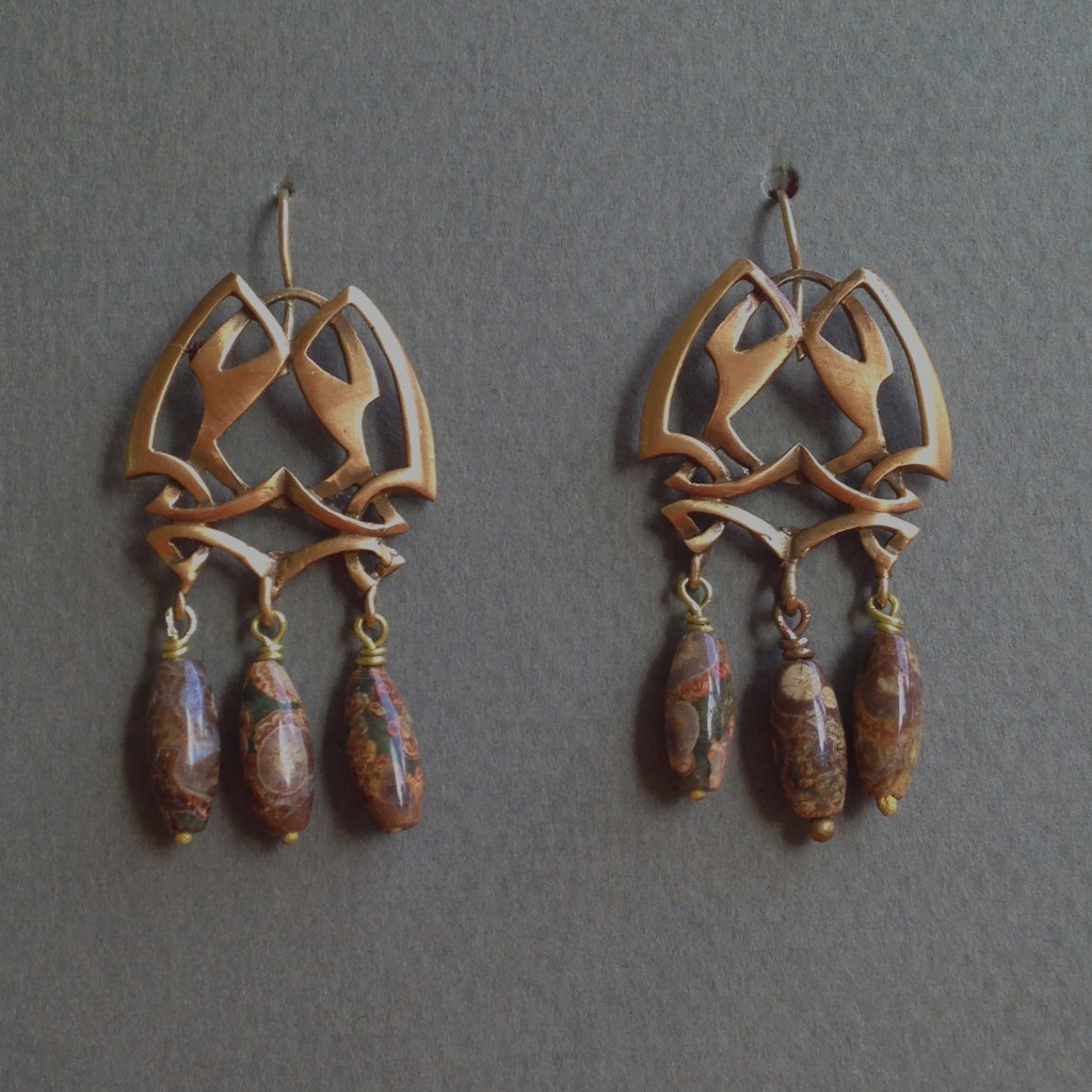 Brenda Schlegel, Art Noveau Earrings, Bronze with Sterling and Jasper Beads, $78.