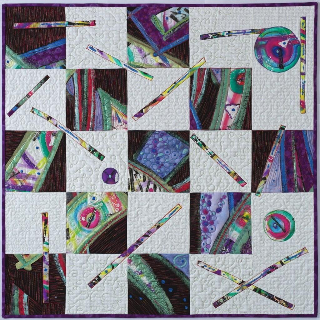 "Wendi Bucey, ""Abstract Threads"", 2018, mixed media art quilt, 30"" x 30"" framed $275."