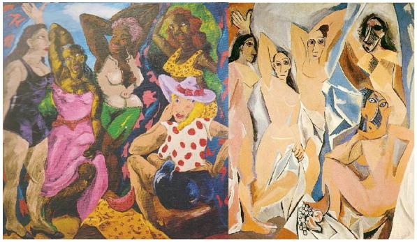Left: Robert Colesscott, Les Demoiselles d'Alabama, 1985, Right: Pablo Picasso, Les Demoiselles d'Avignon, 1907