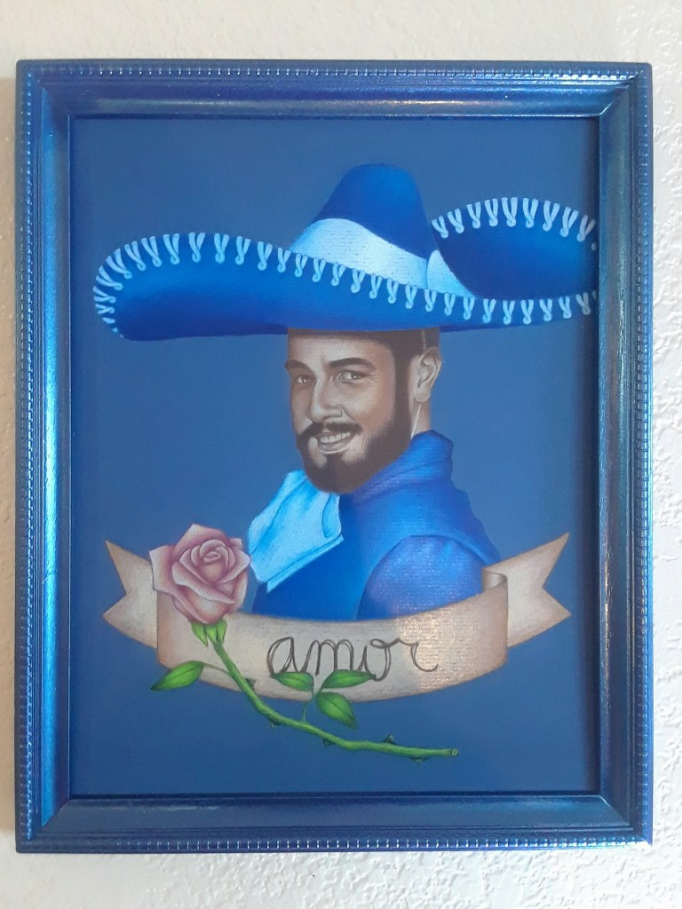 RYAN RAMOS Amor, 2018 Colored pencil on paper $200  With this drawing I wanted to make an exaggerated romantic portrait that challenges the machismo prized in Mexican culture. This image intentionally crosses into camp as a way of taking a laugh at traditional perceptions.