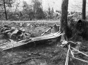 Local de agrupamento de tropas inimigas durante o inverno na área Volchov. 1942.
