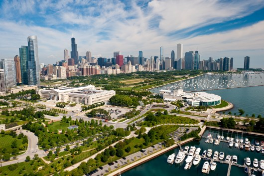 Aerial view of Chicago skyline and the museum campus.