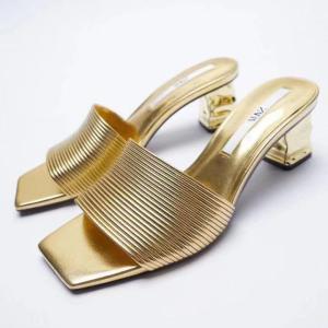 ZARA Gold Block Heel Slip-on