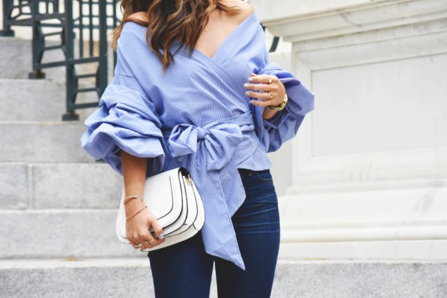 Bow tie front blouse
