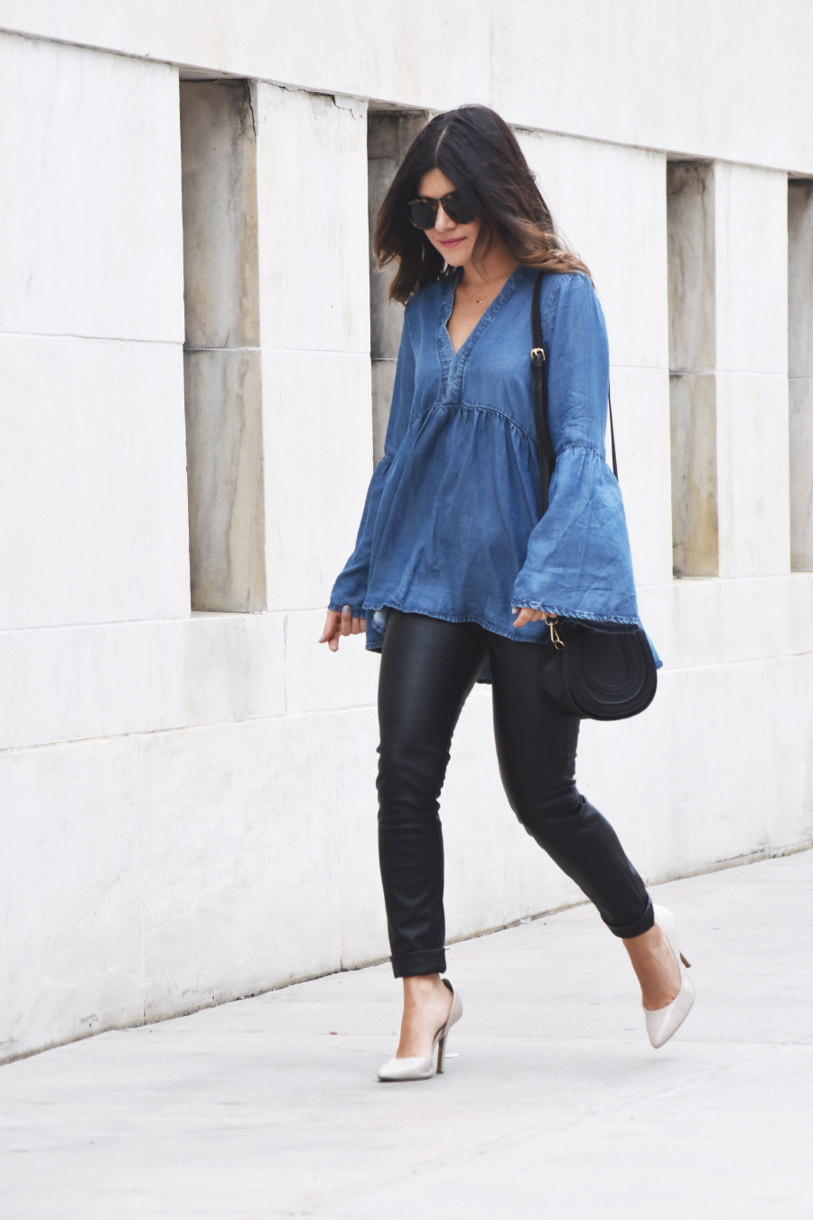 denim top and leather pants