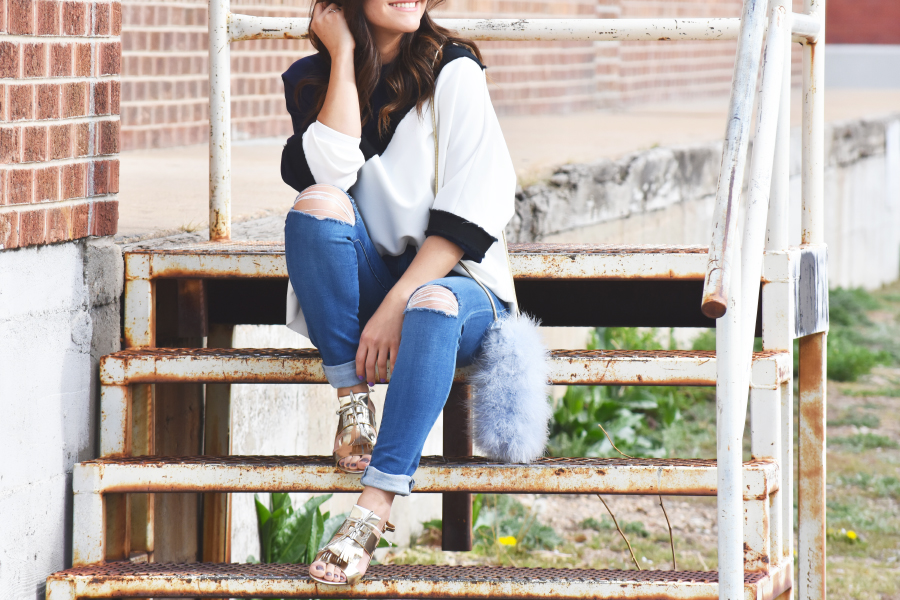 look of the day-ripped jeans