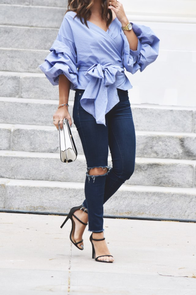 storet top and ripped jeans