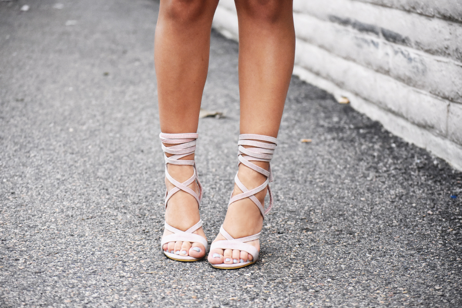 Baby pink lace up sandals