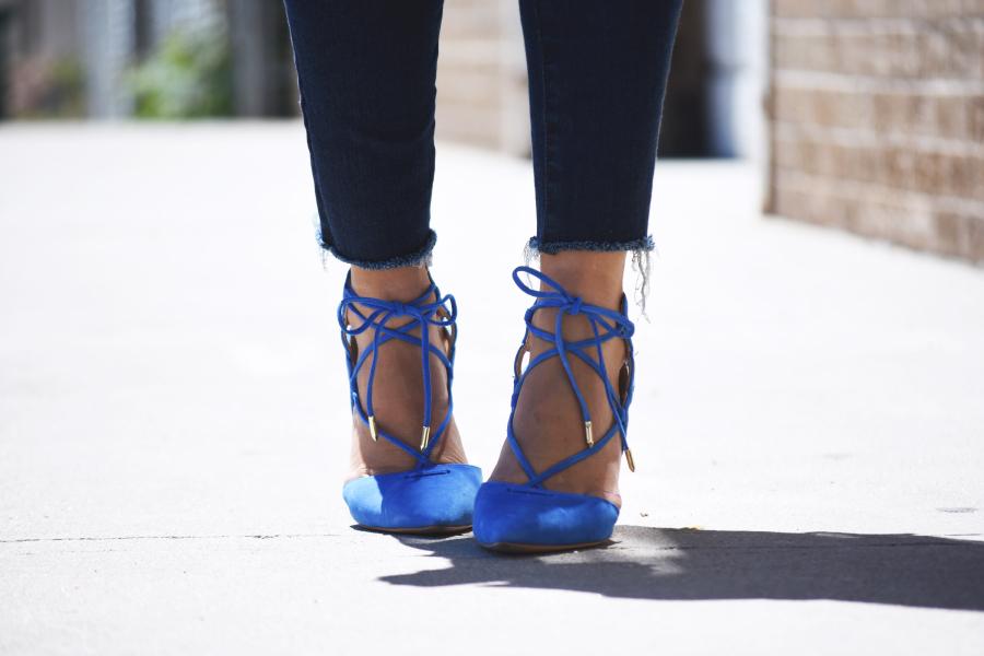 Blue pointy heels