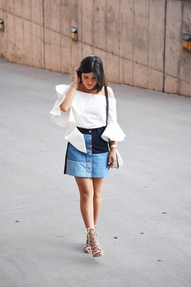 Chicwish white top, and h&m denim skirt